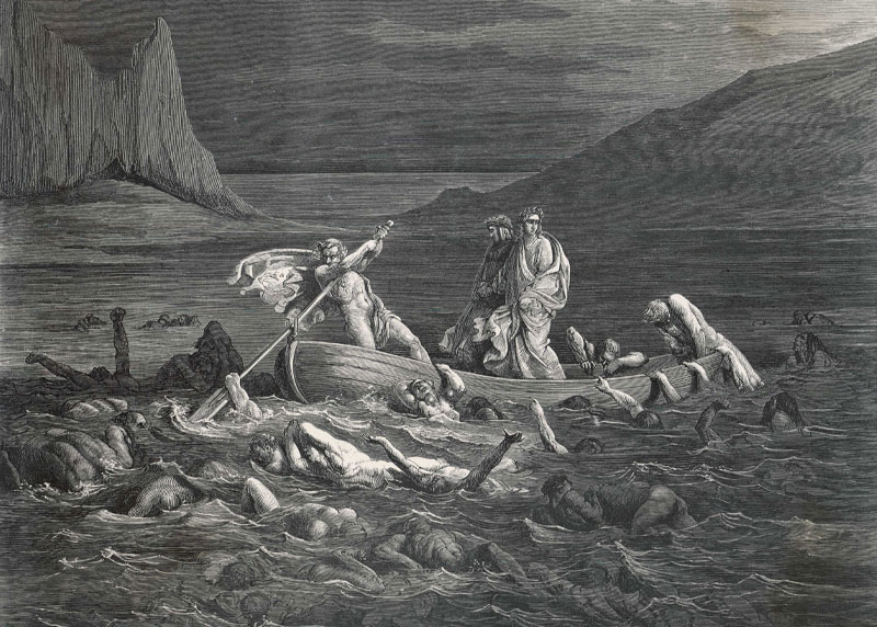 Old Black and white print of Virgil Crossing The River Styx
